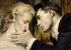 "Looks like he's wiping a tear away, hoping that she will look up for a kiss, ""The Golden Journey, Part 2"" in the Saturday Evening Post in November 1955 // Stanley Zuckerberg"