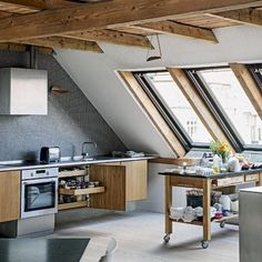 Modern kitchen pictures and photos for your next decorating project. Find inspiration from of beautiful living room images Loft Kitchen, Open Plan Kitchen, Kitchen White, Attic Apartment, Danish Apartment, Penthouse Apartment, Denmark House, Cocinas Kitchen, Attic Renovation