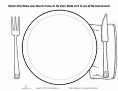 First Grade Coloring Worksheets: Dinner Plate Coloring Page Thanksgiving History, Thanksgiving Plates, Christmas Plates, Dolphin Coloring Pages, Cool Coloring Pages, Coloring For Kids, Food Pyramid Kids, Healthy Plate, Healthy Food
