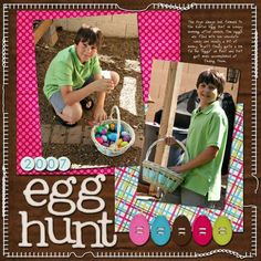 Egg Hunt layout.  Really like the brown background with the pink.