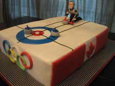 Canadian Olympic Curling Curling theme cake for a gentleman, for whom the curler resembles, hosting a corporate event at a local curling. 3d Cakes, Fondant Cakes, Cupcake Cakes, Olympic Curling, Curling Stone, Sports Themed Cakes, Bithday Cake, Baking With Kids, Sweet Nothings