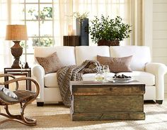 Trunk for coffee table-good idea. Living Room Ideas - Pottery Barn