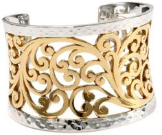 "Amazon.com: Lois Hill ""Two-Tone Open Scroll"" Large Cuff: Jewelry"
