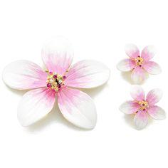 White Hawaiian Plumeria Flower Swarovski Crystal Earrings and Brooch pin Gift Set - Fantasyard Costume Jewelry & Accessories