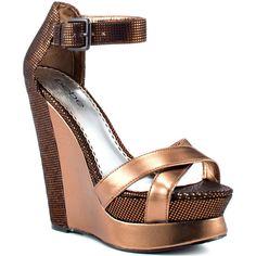 Bebe Shoes Paisley - Bronze Metallic ($135) ❤ liked on Polyvore