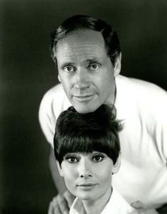 Audrey e Mel Ferrer por Bud Fraker durante a produção de Wait Until Dark, 1967