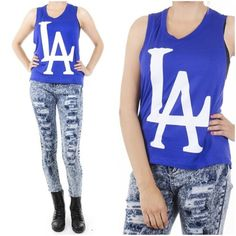 ebclo -LA Dodgers Inspired Graphic Muscle Tee Tank Top Sleeveless Royal Blue NEW $15.00 Free Domestic Shipping