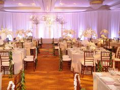 Event Design: Square Tables w/Multiple Heaven and Earth Centerpieces w/Chiavari Chairs in White Theme