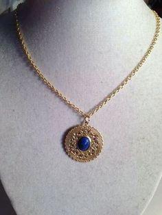 Navy Blue Lapis Necklace Gold Filigree Pendant Jewelry by cdjali, $20.00
