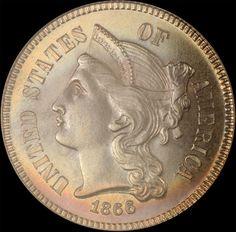 1866 | 3 Cent Nickel |MS66