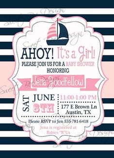 Nautical Baby Shower Invitation  Baby by SweetBeeDesignShoppe, $12.00