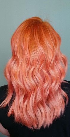 Peachy and pink hair color. Peachy and pink hair color. Pink And Orange Hair, Peach Hair Colors, Coral Hair, Hair Color Pink, Cool Hair Color, Peachy Pink Hair, Lilac Hair, Pastel Pink, Pelo Multicolor