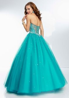 95109 Beaded Bodice with Sheer Back and Tulle Prom Ball Gown