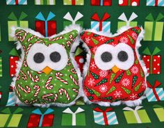 Set of 2 Owl Christmas Ornaments by MamaSewCrazy on Etsy, $11.00