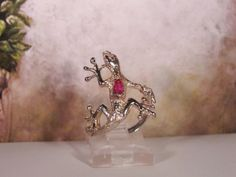 1970s MEXICO Sterling Silver Gecko Lizard with a Synthetic Marquise Ruby Set in Its Back – Size 7 to 7.5 by CarolsVintageJewelry on Etsy