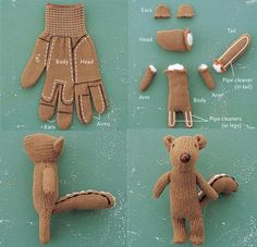 How to make a stuffed squirrel from a glove! :) Such a cute little craft!