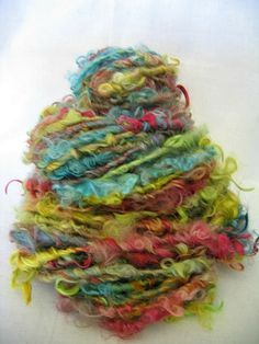 Handspun Art Yarn  - Cotswold Wool Locks - Jamboree