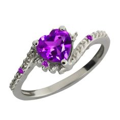 076 Ct Genuine Heart Shape Purple Amethyst Gemstone Sterling Silver Ring >>> Click image for more details.