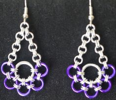 Purple and silver Japanese weave chain maille earrings by LABweorc, $10.00