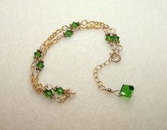 Green Crystal Anklet for Women Adjustable Size Gold Chain