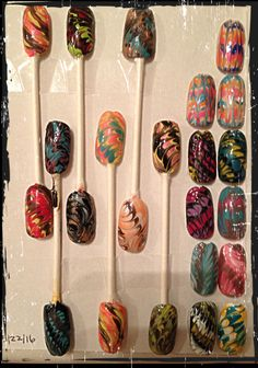 My nail art compilation done today 05/22/16-No Water Marble
