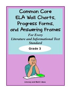 Grade 3 Graphic Organizers, Progress Forms, Wall Charts,  and Question Answering Frames For Every ELA Literature and Informational Text Standard.