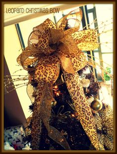 Cheetah Christmas Trees | Leopard Christmas Bow I Made For My Momu0027s Tree!! |
