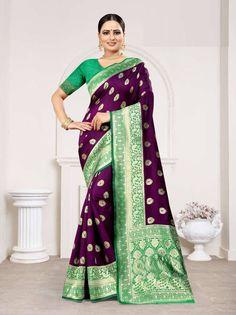 Wine Colour Banarasi Silk Saree With Blouse Banarasi Sarees, Silk Sarees, Indian Fashion, Womens Fashion, Online Collections, Saree Styles, Indian Designer Wear, Saree Blouse Designs, Saree Wedding