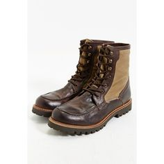 Shoe The Bear Zack Boot (315 CAD) ❤ liked on Polyvore featuring shoes, boots, brown, genuine leather boots, brown shoes, brown boots, color block shoes and real leather shoes