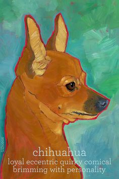 Chihuahua+No.+1++Art+Print+8.5+x+11+red+brown+dog+by+ursuladodge,+$25.00