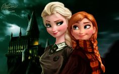 Hogwarts Frozen. Cute! I probably would have pegged Anna as a Hufflepuff with her being a good finder and all. :)