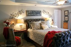 Love the sign over the bed and the desk instead of a nightstand!