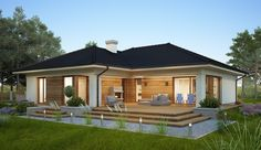 Projekt domu parterowego Oceania II o pow. 126,5 m2 z obszernym garażem, z dachem wielospadowym, z tarasem, sprawdź! Modern Bungalow House, Bungalow Exterior, Modern Farmhouse Exterior, Modern Houses, Minimalist House Design, Minimalist Home, Story House, My House, Garage House