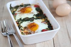 ホウレンソウとトマトの焼いた卵