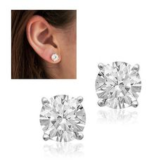 Superstar Sparkle 2 Carat Total Weight Sterling Silver CZ Stud Earrings at 97% Savings off Retail!