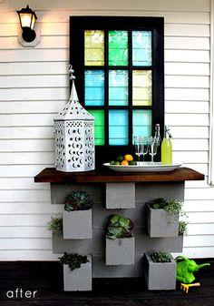 Bar de terrasse réalisé avec des parpaings