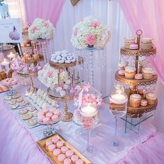 """1,993 Likes, 20 Comments - Lynda Correa (@storybook_bliss) on Instagram: """"Darling pink & gold dessert table!! By @creative_desserttables using elegant cake stands and…"""""""