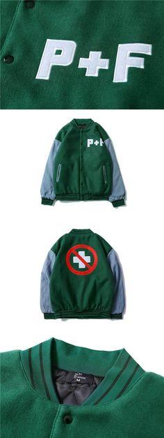 Best Version Winter Style P+F Embroidery Women Men Jackets Coats Hiphop Men Cotton Green Jacket Coat Outwear P+F