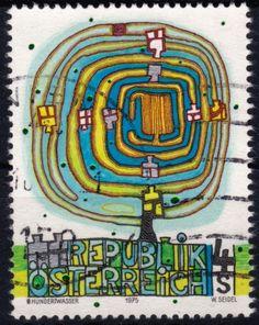 Stamp designed by Austrian Artist Friedensreich Hundertwasser