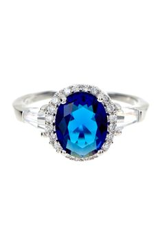 Sterling Silver CZ Halo Oval Ring
