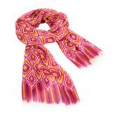 Soft Fringe Scarf in Clementine Ikat $38