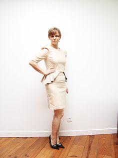 puff sleeves beige dress steampunk clothing peplum by JolyDagmara