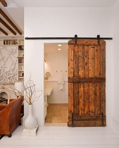 Wooden Roll Door By Beth Yacoub Barn Bathroom, Basement Bathroom, Wooden  Bathroom, Bathroom