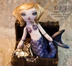 Sandy Azure Printed Cloth Mermaid Doll Pattern by selinafenech, $15.00