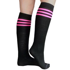 0e40dea39 Bright neon pink striped tube socks that are knee high. Choose from 45+  Styles