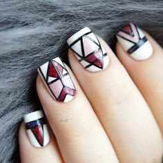 My geometric entry for #ppnailartquarterly2. I used Grace, Moscow, Bordeaux and Big Bang.