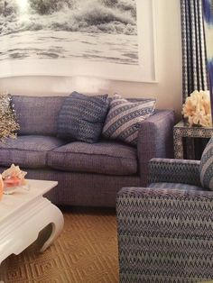 Aerin Lauder Beach House with blues, sisal and interesting coffee table