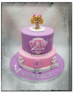 Aliah s birthday Girls Paw Patrol Cake, Skye Paw Patrol Cake, Torta Paw Patrol, Sky Paw Patrol, Pj Masks Birthday Cake, Birthday Cake Girls, 4th Birthday, Birthday Ideas, Paw Patrol Birthday Theme