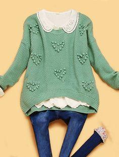 Light Green Long Sleeve Plush Ball Embellished Sweater US$35.20