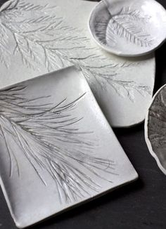 Inspiration for nature themed Salt Dough Ornaments! Take a twig of evergreen from outside and make an impression into the salt dough, make a hole for a ribbon, and then bake! :D